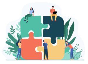 equipe-commerciale-mettant-ensemble-jigsaw-puzzle-isole-illustration-vectorielle-plane-partenaires-dessin-anime-travaillant-connexion-concept-travail-equipe-partenariat-cooperation